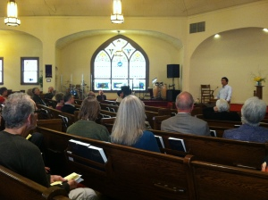 Hyun speaks at the First Mennonite Church of Reedley on March 3, 2013