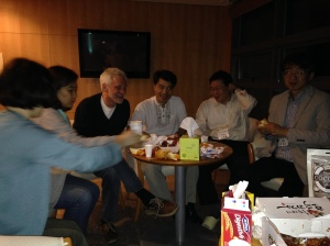 Fellowship continues in the late evening over Korean style fried chicken, walnut cake, and other goodies from Jae Young Lee and Karen Spicher of NARPI